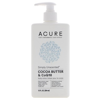 Acure Organics, Simply Unscented Body Lotion, Cocoa Butter & CoQ10, 12 fl oz (354 ml)