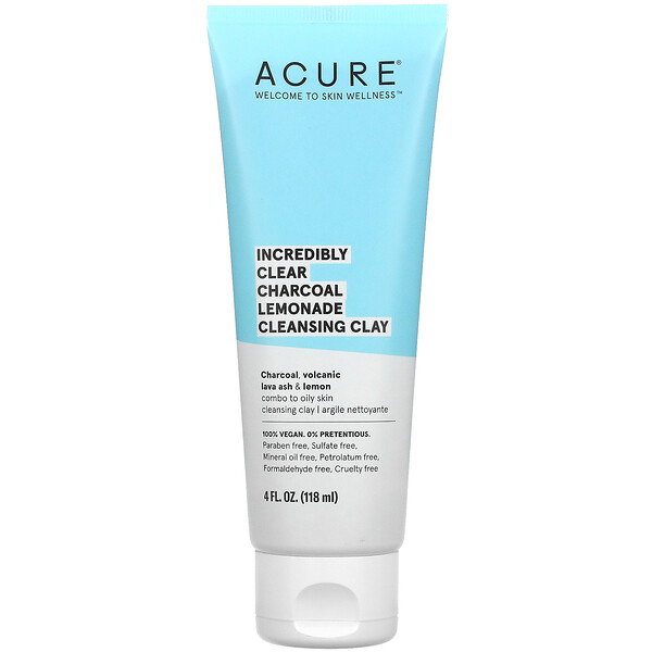Acure, Incredibly Clear Charcoal Lemonade Cleansing Clay, 4 fl oz (118 ml)