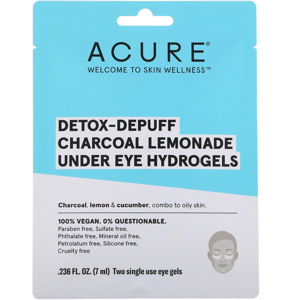 Acure, Detox-Depuff, Charcoal Lemonade Under Eye Hydrogels, 2 Single Use Eye Gels, 0.236 fl oz (7 ml)