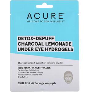 Акьюр Органикс, Detox-Depuff, Charcoal Lemonade Under Eye Hydrogels, 2 Single Use Eye Gels, 0.236 fl oz (7 ml) отзывы