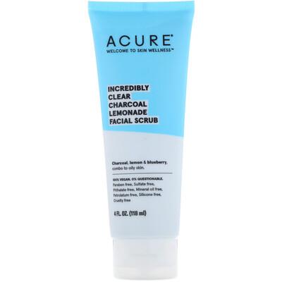 Купить Acure Невероятное очищение, скраб для лица, с активированным углем и лимоном, 4 ж. унц. (118 мл)