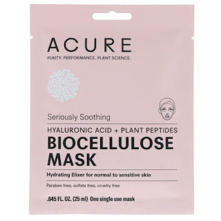 Acure, Seriously Soothing, Biocellulose Mask, 1 Single Use Mask, 0.845 fl oz (25 ml)