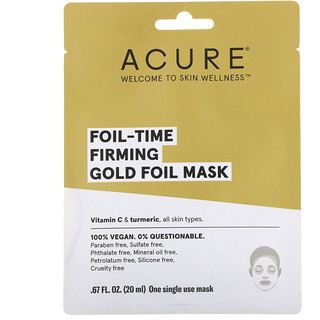 Acure, フォイルタイムの肌を引き締めるゴールドフォイルマスク、使い捨てマスク1枚、0.67 fl oz (20 ml)
