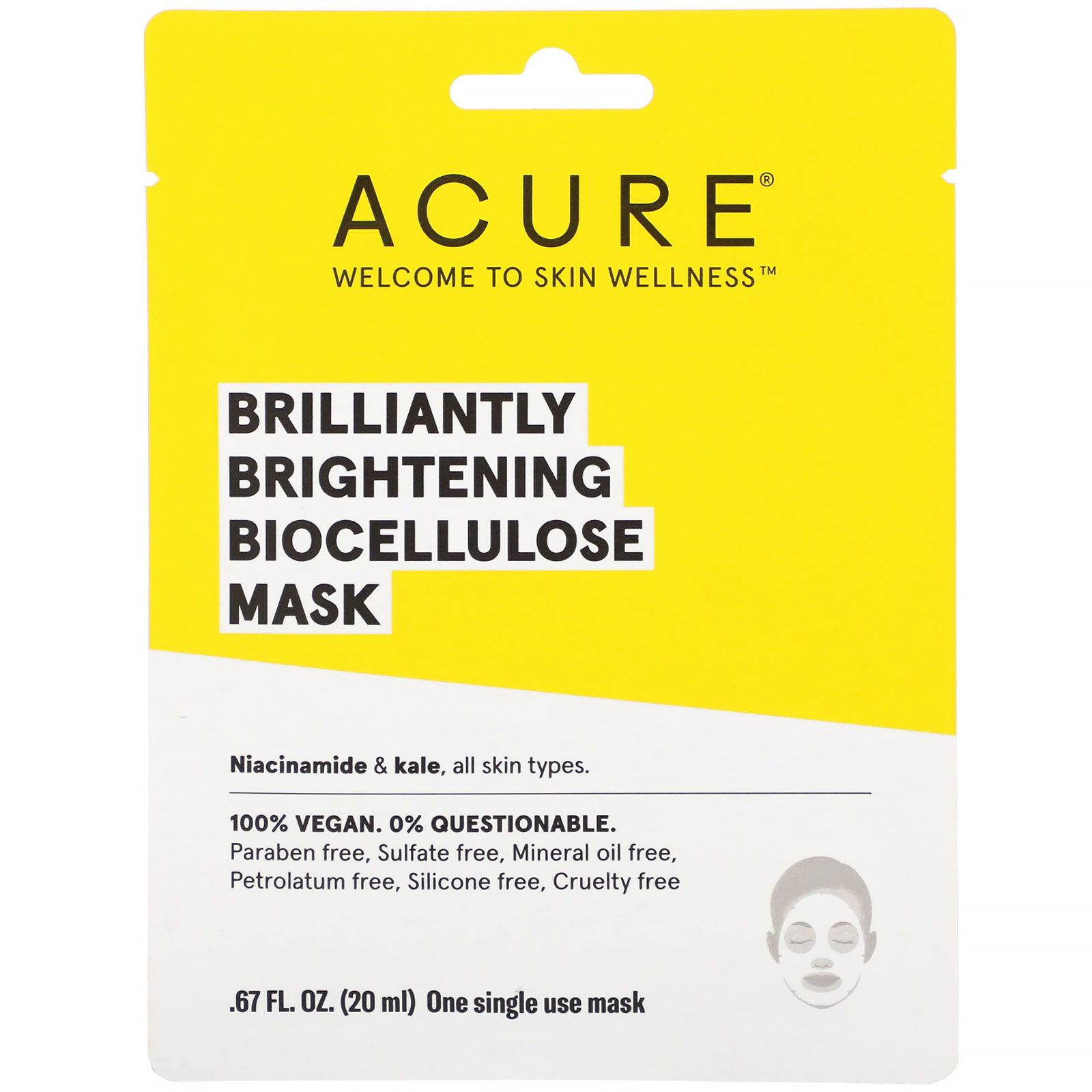 Acure, Brilliantly Brightening, Biocellulose Mask, 1