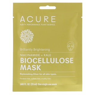 Acure, Brilliantly Brightening, Biocellulose Mask, 1 Single Use Mask, 0.845 fl oz (25 ml)