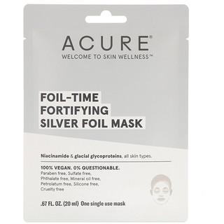 Acure, フォイルタイムの肌を強化するシルバーフォイルマスク、使い捨てマスク1枚、0.67 fl oz (20 ml)