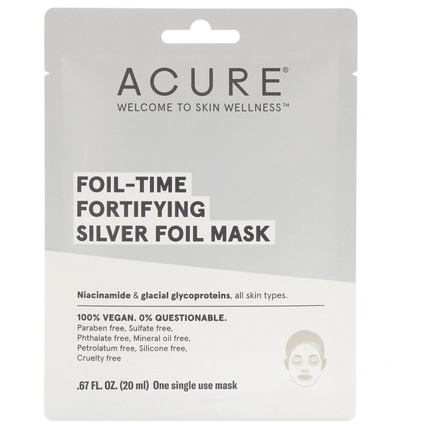 Acure, Foil-Time Fortifying Silver Foil Mask, 1 Single Use Mask, 0.67 fl oz (20 ml) (Discontinued Item)
