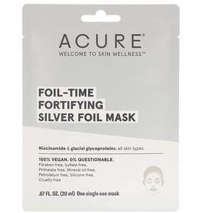 Акьюр Органикс, Foil-Time Fortifying Silver Foil Mask, 1 Single Use Mask, 0.67 fl oz (20 ml) отзывы