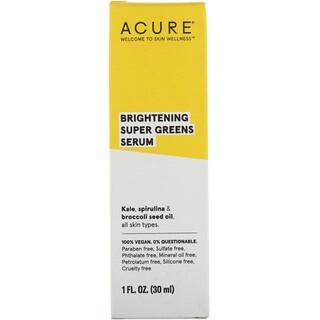 Acure, Suero orgánico aclarador, 1 fl oz (30 ml)