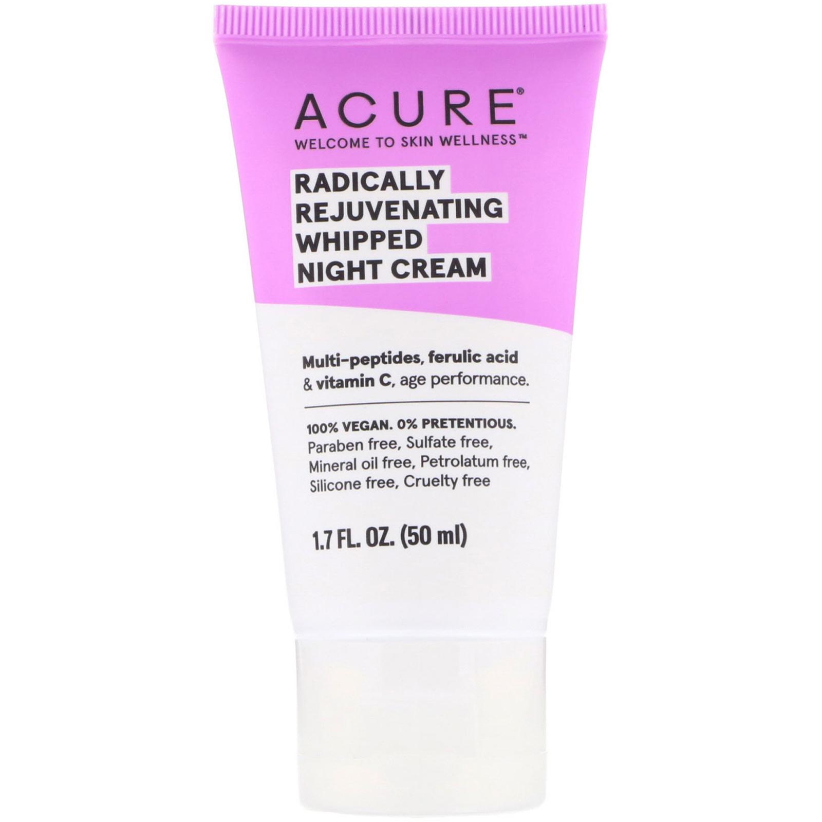 Acure, Радикальное омолажение, ночной крем консистенции взбитых сливок, 1,7 ж. унц. (50 мл)