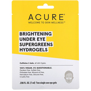 Акьюр Органикс, Brightening Under Eye SuperGreens Hydrogels, 2 Single Use Eye Gels, 0.236 fl oz (7 ml) отзывы покупателей
