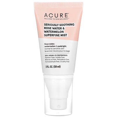 Acure Seriously Soothing, Rose Water & Watermelon Superfine Mist, 2 fl oz (59 ml)