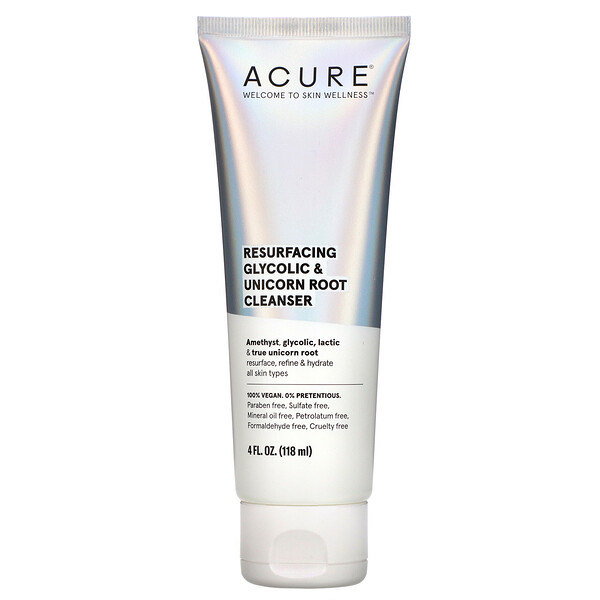Acure, Resurfacing Glycolic & Unicorn Root Cleanser, 4 fl oz (118 ml)