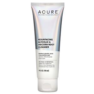 Acure, Resurfacing Glycolic & Unicorn Root Cleanser, 4 fl oz (118 ml)