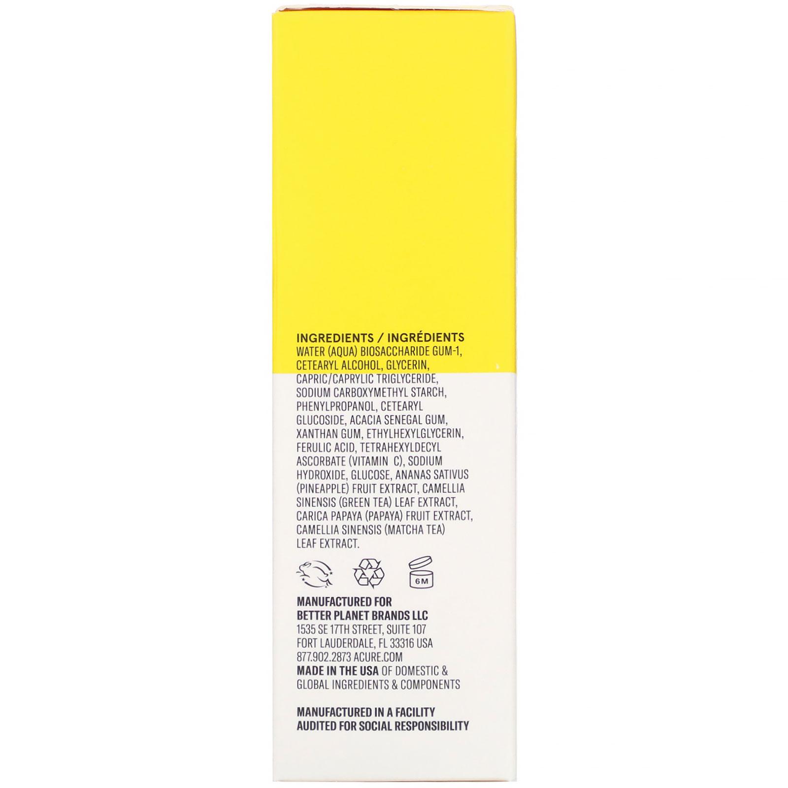 Acure, Brightening Vitamin C & Ferulic Acid Oil Free Serum
