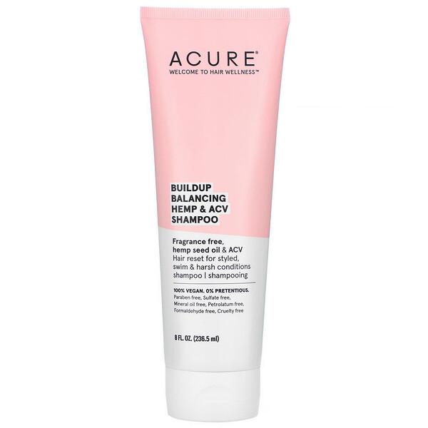 Acure, Buildup Balancing Hemp & ACV Shampoo, 8 Fl Oz (236