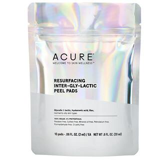 Acure, Resurfacing Inter-Gly-Lactic Peel Pads, 10 Pads, .06 fl. oz (2 ml) Each