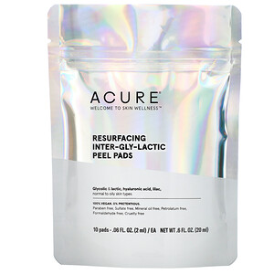 Acure, Resurfacing Inter-Gly-Lactic Peel Pads, 10 Pads, .06 fl. oz (2 ml) Each'