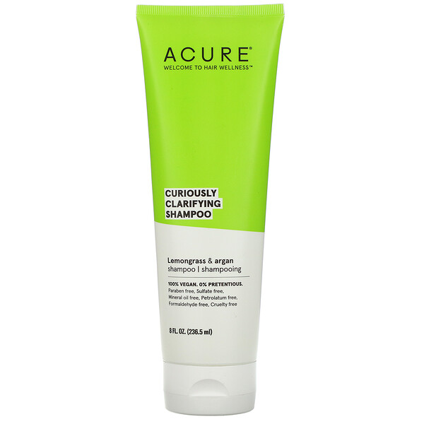 Acure, Curiously Clarifying Shampoo, Lemongrass & Argan, 8 fl oz (236.5 ml)