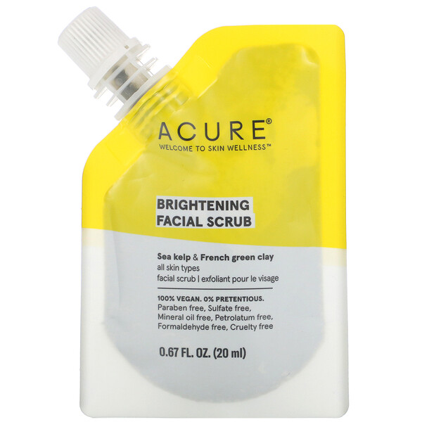 Acure, Brightening Facial Scrub, 0.67 fl oz (20 ml)