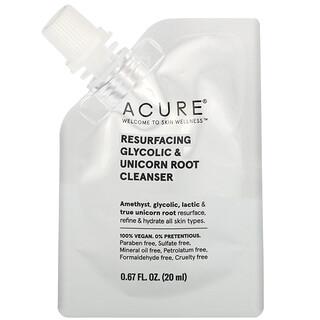 Acure, Resurfacing Glycolic & Unicorn Root Cleanser, 0.67 fl oz (20 ml)