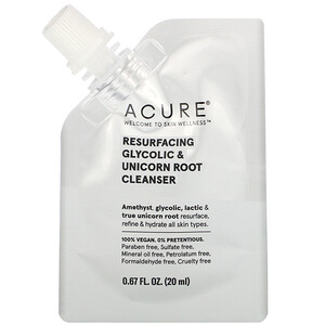Acure, Resurfacing Glycolic & Unicorn Root Cleanser, 0.67 fl oz (20 ml)'