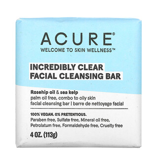 Acure, Incredibly Clear, Facial Cleansing Bar, 4 oz (113 g)