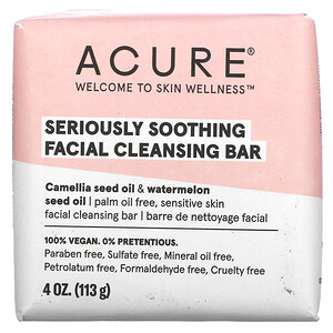 Acure, Seriously Soothing Facial Cleansing Bar, 4 oz (113 g)
