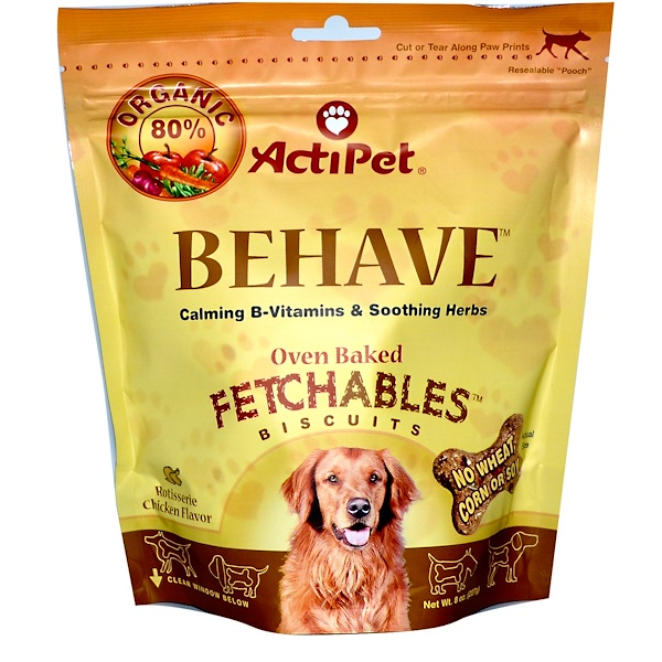 Actipet, Behave, Oven Baked Fetchables Biscuits, Rotisserie Chicken Flavor, 8 oz (227 g) (Discontinued Item)
