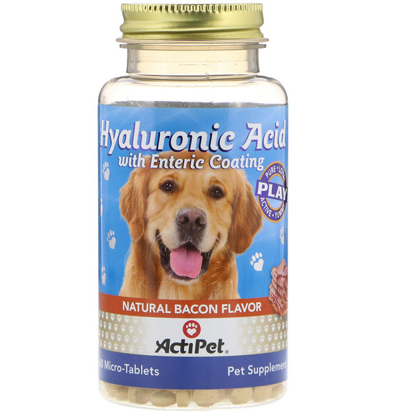 Actipet, Hyaluronic Acid with Enteric Coating, for Dogs, Natural Bacon Flavor, 60 Micro-Tablets (Discontinued Item)