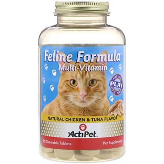 Actipet, Feline Formula, Multivitamin For Cats, Natural Chicken & Tuna Flavor, 90 Chewable Tablets
