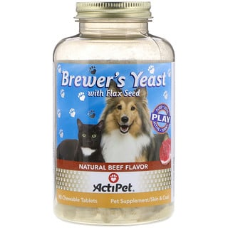 Actipet, Brewer's Yeast with Flax Seed, For Dogs & Cats, Natural Beef Flavor, 90 Chewable Tablets