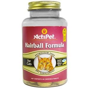 Actipet, Средство от волосяных шаров, для кошек, с натуральным вкусом тунца и курицы, 60 жевательных таблеток