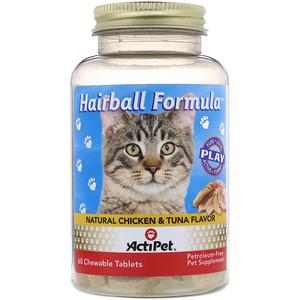 Актипет, Hairball Formula, Natural Chicken & Tuna Flavor, 60 Chewable Tablets отзывы