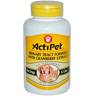 Actipet, Urinary Tract Formula With Cranberry Extract, For Dogs & Cats, 67.5 g, Powder