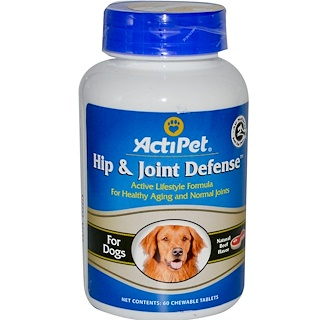 Actipet, Hip and Joint Defense, For Dogs, Natural Beef Flavor, 60 Chewable Tablets