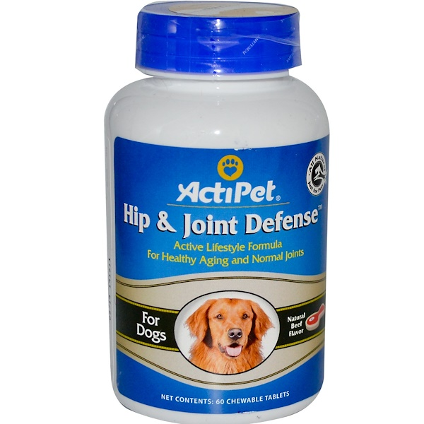 Actipet, Hip and Joint Defense, For Dogs, Natural Beef Flavor, 60 Chewable Tablets (Discontinued Item)