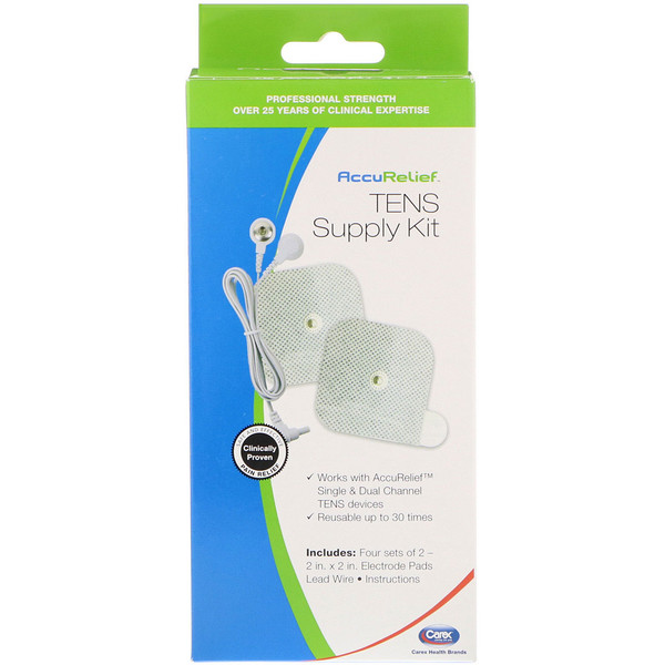AccuRelief, TENS Supply Kit, 4 Sets of 2 Electrode Pads & 1 Lead Wire