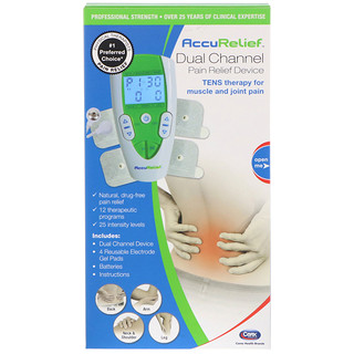 AccuRelief, Dual Channel Pain Relief Device, TENS Therapy for Muscle and Joint Pain, 1 Dual Channel Device & 4 Electrode Gel Pads