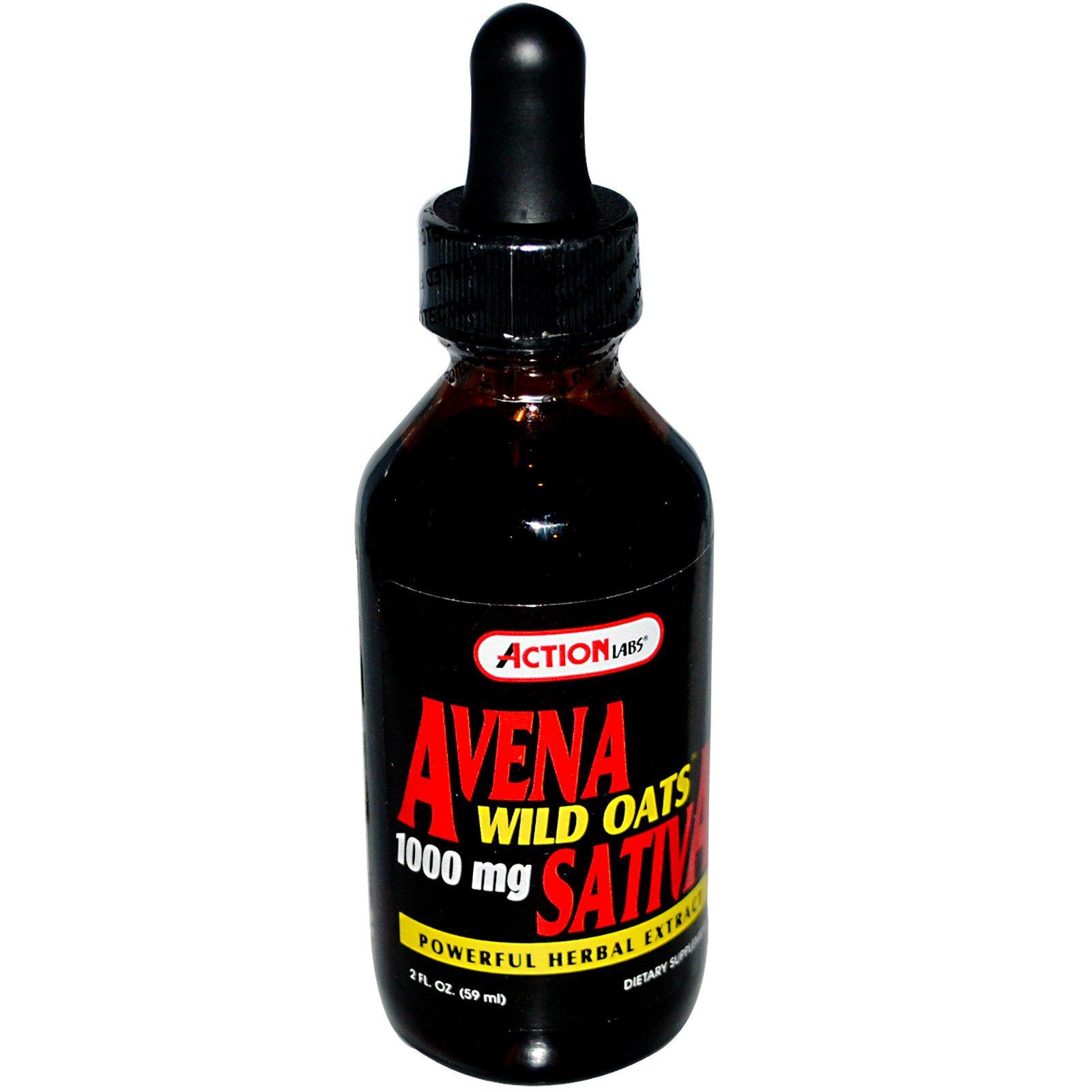 Action Labs, Овес посевной (Avena Sativa), 1000 мг, 2 жидких унции (59 мл)