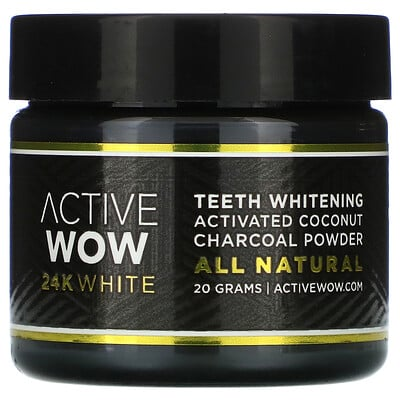 Купить Active Wow 24K White, All Natural Teeth Whitening Charcoal Powder, Activated Coconut, 20 g