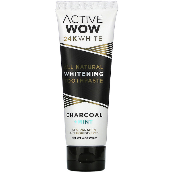 24K White, All Natural Whitening Toothpaste, Charcoal + Mint, 4 oz (113 g)