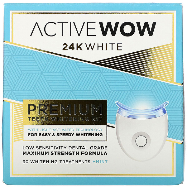 24K White, Premium Teeth Whitening Kit, + Mint, 30 Treatments
