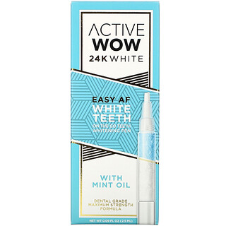 Active Wow, 24K White, Easy AF Teeth Whitening Pen with Mint Oil, 0.09 fl oz (2.5 ml)