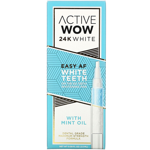 24K White, Easy AF Teeth Whitening Pen with Mint Oil, 0.09 fl oz (2.5 ml)