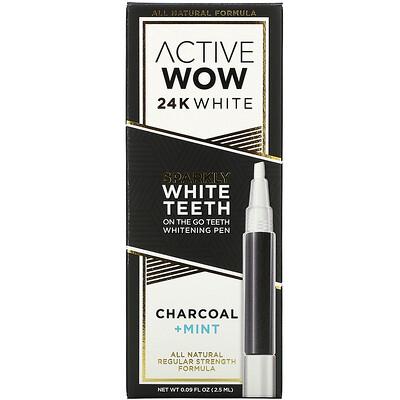 Купить Active Wow 24K White, Sparkly Teeth Whitening Pen, Charcoal + Mint, 0.09 fl oz (2.5 ml)