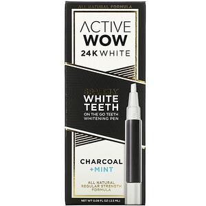 Active Wow, 24K White, Sparkly Teeth Whitening Pen, Charcoal + Mint, 0.09 fl oz (2.5 ml) отзывы