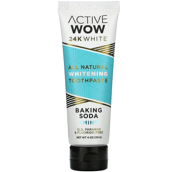 24K White, All Natural Whitening Toothpaste, Baking Soda + Mint,  4 oz (113 g)