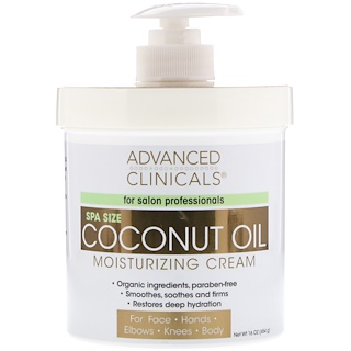 Advanced Clinicals, Coconut Oil Moisturizing Cream, 16 oz (454 g)