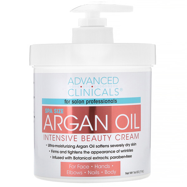 Advanced Clinicals, Aceite de argán, crema de belleza intensiva, 16 oz (454 g)